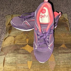 Purple with pink and gray walking shoes. Size 7w.